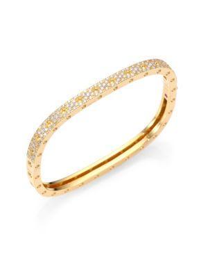 Roberto Coin Pois Moi PavÉ Diamond & 18K Yellow Gold Single-Row Bangle Bracelet