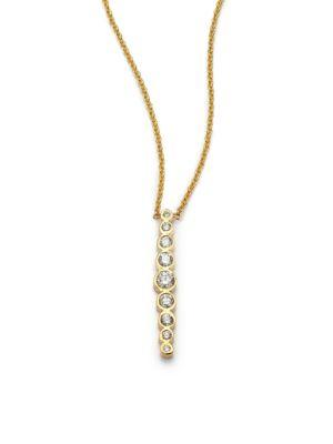 ZoË Chicco Diamond & 14K Yellow Gold Vertical Graduated Pendant Necklace