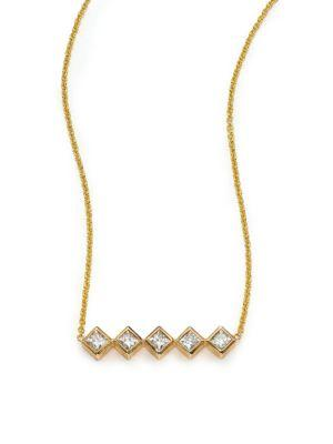 ZoË Chicco Diamond & 14K Yellow Gold Princess Necklace