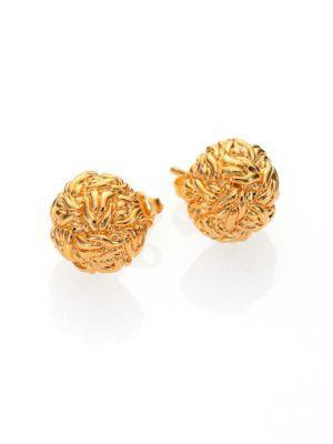John Hardy Classic Chain 18K Yellow Gold Braided Stud Earrings