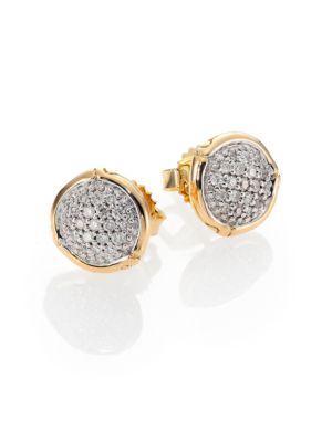John Hardy Bamboo Small Diamond & 18K Yellow Gold Round Stud Earrings