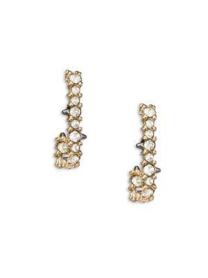 Alexis Bittar Crystal-Encrusted Mini Link Huggie Earrings In Gold