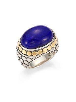 John Hardy Batu Dot Lapis Lazuli, 18K Yellow Gold & Sterling Silver Dome Ring In Multi