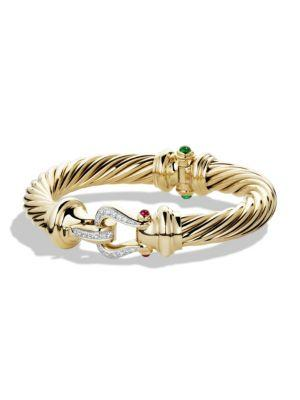 David Yurman Cable Classics Buckle Bracelet With Emerald, Ruby And Diamonds In 18K Gold