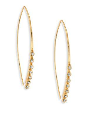 Jules Smith Lure Crystal Fringe Threader Earrings In Gold