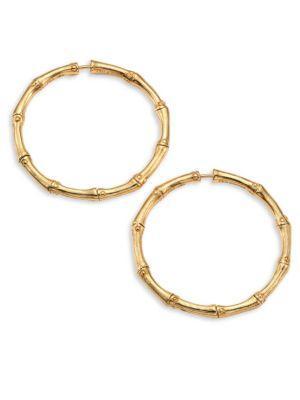 """John Hardy Bamboo Medium 18K Yellow Gold Hoop Earrings/1.25"""""""