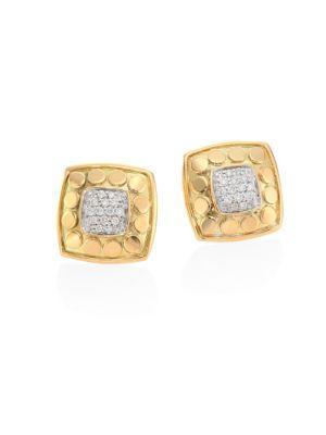 John Hardy Dot Diamond & 18K Yellow Gold Stud Earrings