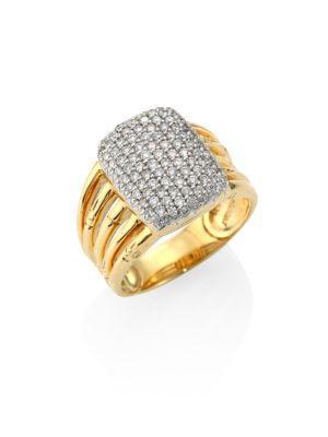 John Hardy Bamboo 18K Yellow Gold Diamond Pave Five Row Ring