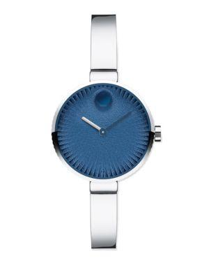 Movado Edge Special Edition Stainless Steel Bracelet Watch In Blue