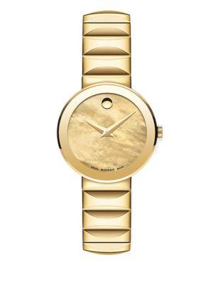 Movado Sapphire Goldtone Stainless Steel Watch