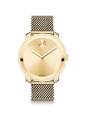 Movado Bold Goldtone Ip Stainless Steel Mesh Bracelet Watch