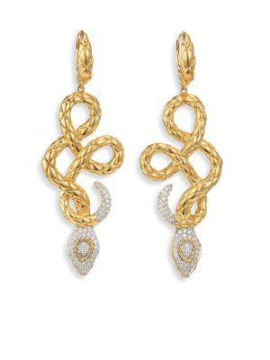 John Hardy Legends Cobra Diamond & 18K Yellow Gold Drop Earrings