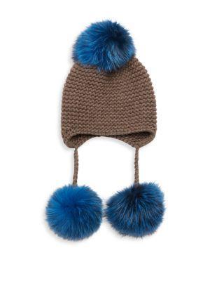 Inverni Triple Pom Knit Cashmere & Fox Fur Beanie In Blue