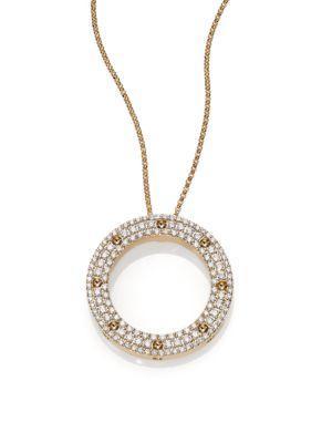 Roberto Coin Pois Moi Diamond & 18K Yellow Gold Circle Pendant Necklace