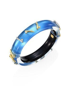 Alexis Bittar Lucite Medium Crystal-Detail Spiked Bangle In Blue