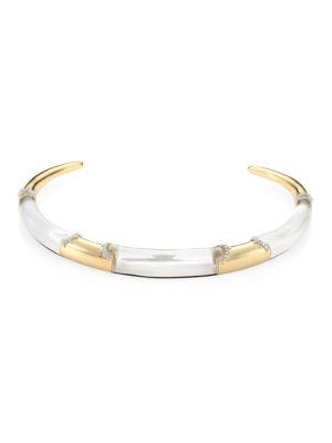 Alexis Bittar Lucite PavÉ Edge Segment Collar Necklace In Gold