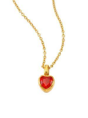 Gurhan Amulet Hue Opal Heart & 18-24K Yellow Gold Pendant Necklace