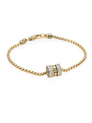 John Hardy Dot Diamond & 18K Yellow Gold Roller Bracelet