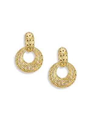 John Hardy Classic Chain Hoop Drop Earrings In 18K Gold