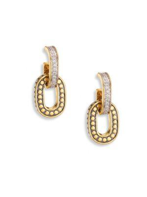 John Hardy Dot Small Diamond & 18K Yellow Gold Drop Earrings