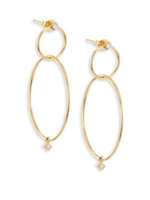 ZoË Chicco Diamond & 14K Yellow Gold Double-Circle Drop Earrings