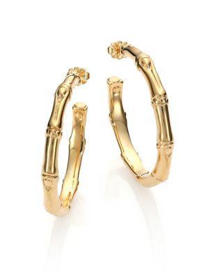 "John Hardy Bamboo 18K Yellow Gold Small Hoop Earrings/1.55"""