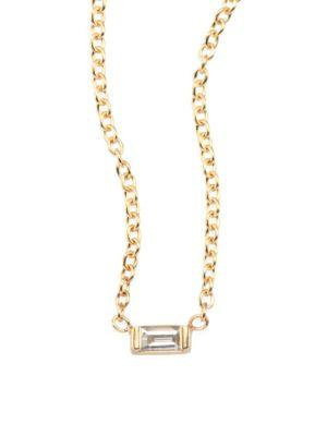 ZoË Chicco 14K Yellow Gold Diamond Baguette Choker Necklace, 14
