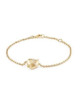 David Yurman Le Petit Coeur Sculpted Heart Chain Bracelet With Diamonds In 18K Gold