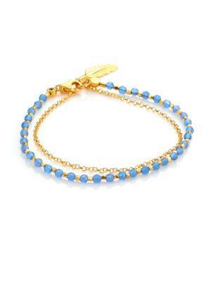 Astley Clarke Biography Blue Agate & White Sapphire Feather Bracelet