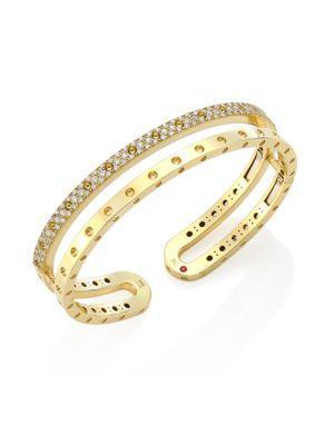 Roberto Coin Symphony Pois Mois Diamond & 18K Yellow Gold Double Bangle