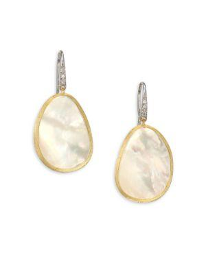 Marco Bicego Lunaria Diamond, Mother-Of-Pearl & 18K Yellow Gold Drop Earrings