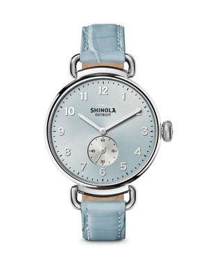 Shinola The Canfield Stainless Steel & Alligator Strap Watch In Blue