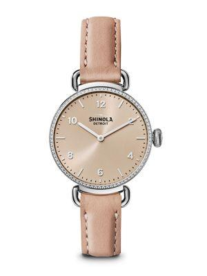 Shinola The Canfield Diamond, Stainless Steel & Leather Strap Watch In Pink