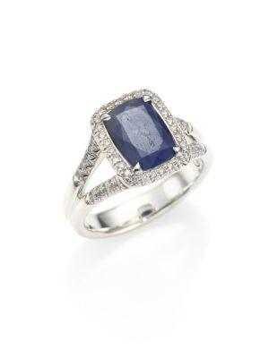 John Hardy Classic Chain Diamond, Blue Sapphire & Sterling Silver Ring