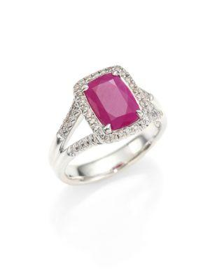 John Hardy Classic Chain Diamond, Ruby & Sterling Silver Ring
