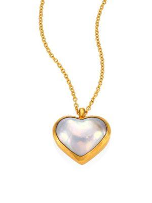 Gurhan Amulet Hue 11Mm White Mabe Pearl Heart & 18-24K Yellow Gold Pendant Necklace