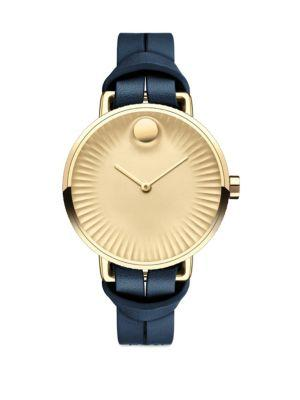 Movado Edge Goldtone Stainless Steel & Leather Strap Watch/Blue In Navy