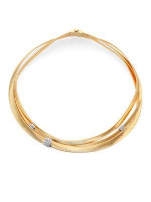 Marco Bicego Masai Diamond, 18K Yellow Gold & 18K White Gold Multi-Row Necklace