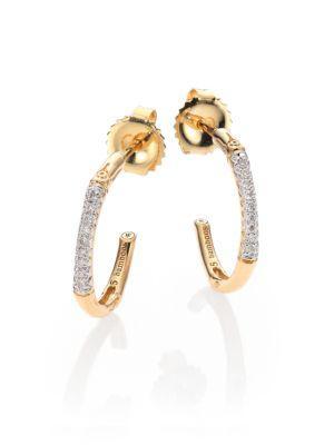 John Hardy Bamboo Extra Small Diamond & 18K Yellow Gold Hoop Earrings