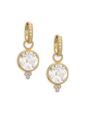 Jude Frances Provence White Topaz, Diamond & 18K Yellow Gold Round Earring Charms