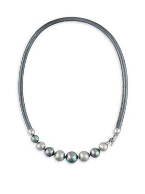 Majorica 9-12Mm Nuage And Grey Pearl And Leather Graduated Necklace