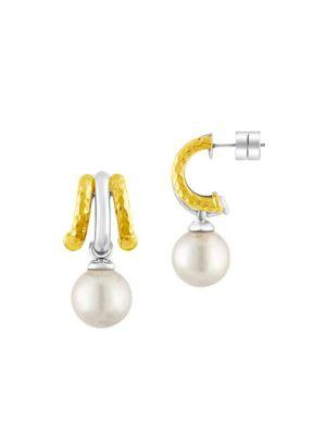 Majorica 12Mm White Pearl & Gold-Plated Earrings
