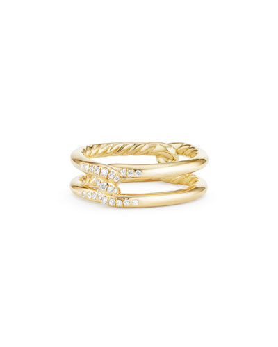 David Yurman Continuance Knot Ring With Diamonds In 18K Gold In White/Gold