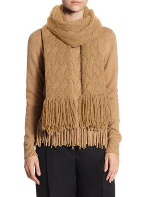 Akris Punto Cable-Knit Fringe Wool & Camel Hair Scarf In Vicuna