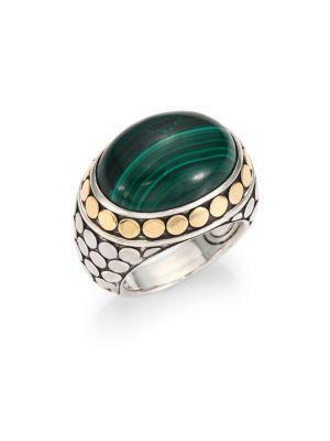 John Hardy Batu Dot Malachite, 18K Yellow Gold & Sterling Silver Dome Ring In Green