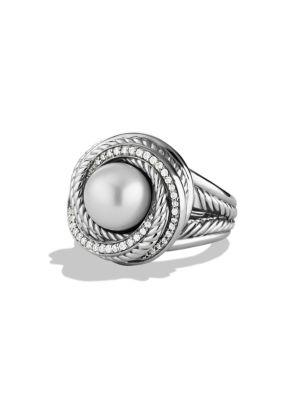 David Yurman Pearl Crossover Ring With Diamonds In Silver