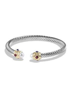 David Yurman Renaissance Bracelet With Gemstones And 14K Gold In Pearl