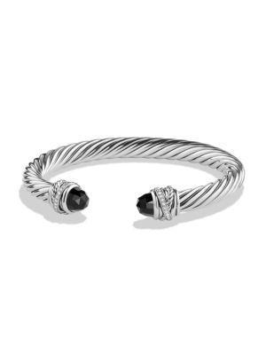 David Yurman Crossover Bracelet With Diamonds In Black Onyx