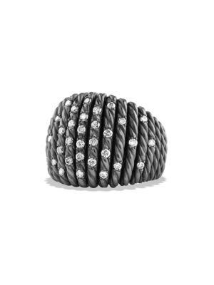 David Yurman Tempo Ring With Diamonds In Silver