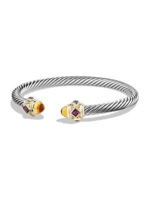 David Yurman Bracelet With Rhodalite Garnet, Citrine And 14K Gold In Cabochon